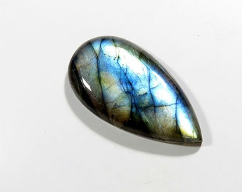 39Cts Natural Labradorite Cabochon Loose Gemstones Pear Top AAA Blue Fire Labradorite Gemstones Labradorite Jewelry Making 39X20X6mm
