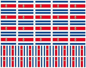 40 Removable Stickers: Costa Rica Flag, Party Favors, Decals