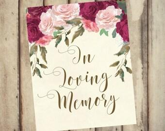 In Memory Sign - Wedding In Loving Memory Sign - Instant printable - 8x10 - Memorial