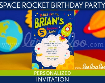 Space Rocket Birthday Party Invitation Personalized Printable // Space Rocket - B44Pa1