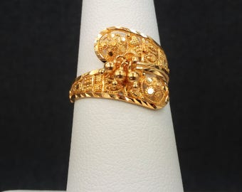 GOLDSHINE 22K Solid Yellow Gold RING Size 6.25 (US/Canada) Genuine, Handcrafted & Hallmarked 916