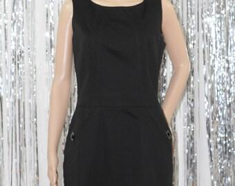 Vintage Classic Black Kelvin Klein Cotton Sleevless Sheath Dress (6P)