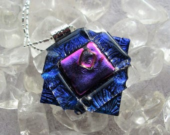 Dichroic Glass Necklace -  Blue/Lavender  Dichroic Glass Pendant - Hand Made Kiln Fired One of a Kind, Freeform
