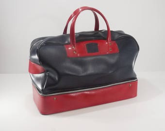 French vintage Blue and Red Travel Bag with Double bottom, Retro Chic Weekend Duffle Bag