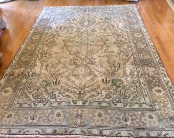 Persian rug antique very nice hand knotted wool 6.9 x 9.7