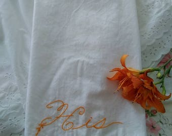 Vintage, Handmade, Embroidered, 'His' (Standard)  Pillow Case with Crocheted, edge