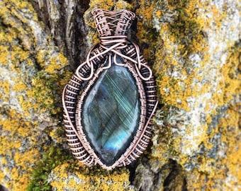 Blue flash Labradorite, wire wrapped pendant, oxidized copper