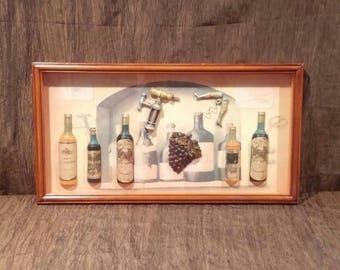 Beautiful Large 3D Wine display shadow box, free shipping