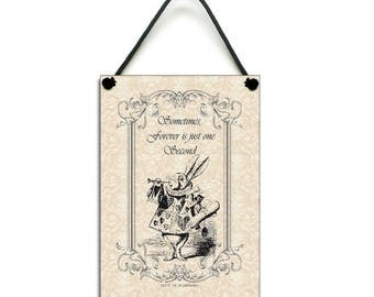 White Rabbit Fun Quote Handmade Wooden Home Sign/Plaque Gift 256