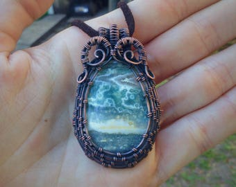 Wire Wrapped Jasper Pendant in Oxidized Copper