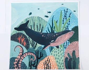 Original Whale Painting, Whale Painting, Original Acrylic Painting, Reef Painting, Coral Painting, Childrens Decor, Nursery Painting