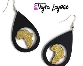 Africa earrings black and glitter - earrings Africa Golden