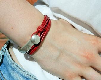 Wrap Boho bracelet,wrap bracelet,leather wrap bracelet,beaded wrap bracelet,leather bracelet, silver plated,beaded bracelet,PC032
