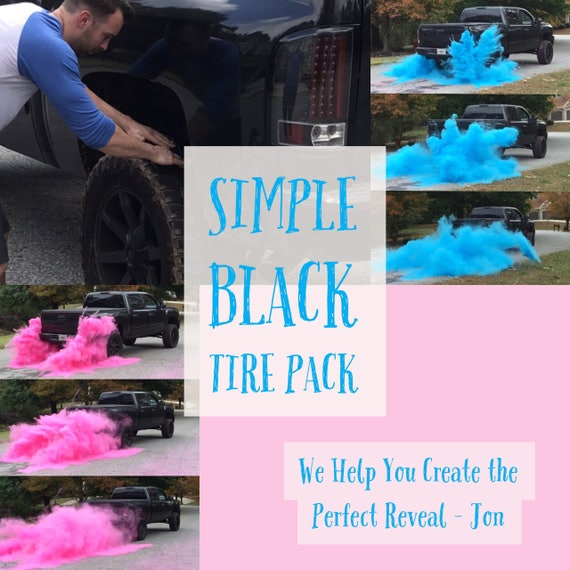BURNOUT Gender Reveal Simple Black Tire Pack for Peel Outs, Burnouts, or easy Drive Gender Reveals! Created Exclusively by Us for You!