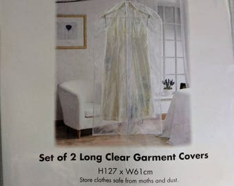 Set of 2 long clear garment covers