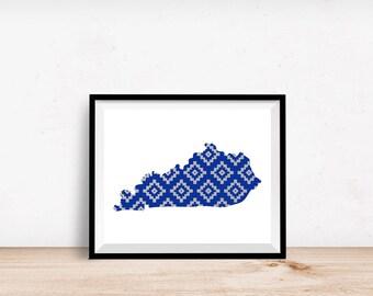 Kentucky Aztec Pattern -  8x10 Kentucky print, Kentucky print, Kentucky printable, Kentucky art, 8x10 printable art, Kentucky, tribal