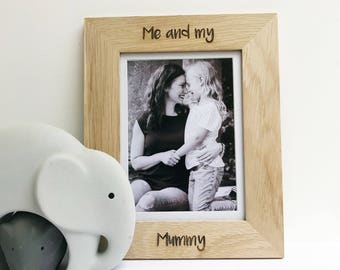 Personalised 'Me and my Mummy' solid oak engraved photo frame