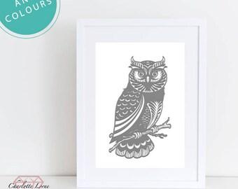 Owl Print Art Decor, Any Colour Owl Print, Owl, Framed, Wall Art, Design