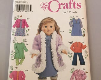 "4786 Simplicity Crafts Elaine Heigl Designs 18"" Doll Clothing Wardrobe Uncut"