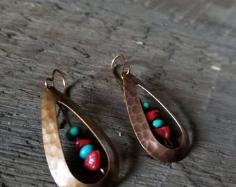 Turquoise and Red Drop Earrings