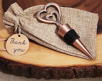 Copper Heart Wine stopper wedding favors - Double heart Vintage copper wine stopper favor-