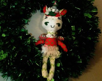 Handmade Unicorn Softie, Ornament, Cloth Doll, Christmas , Art Doll
