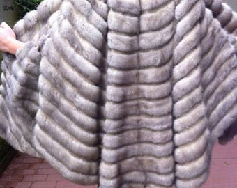 Gray mink Cape with leather
