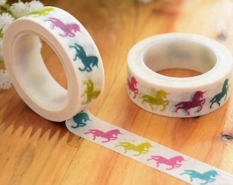 Unicorn Washi Tape - Bright & Colourful Unicorn Design Tape Ideal For Scrapbooks Planners + Crafts