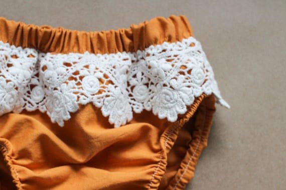 Pumpkin Spice + Lace Boho Bloomers, Baby Girl Bloomers, Diaper Cover, Bloomers, Baby Bloomers, Toddler Bloomers, Bohemian, Boho Chic