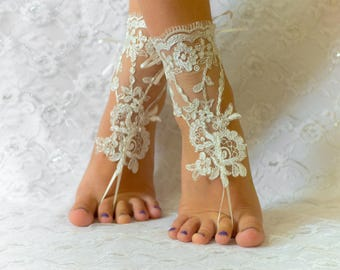 Wedding barefoot sandals, wedding shoes, wedding shoes lace, wedding shoes for bride, wedding shoes