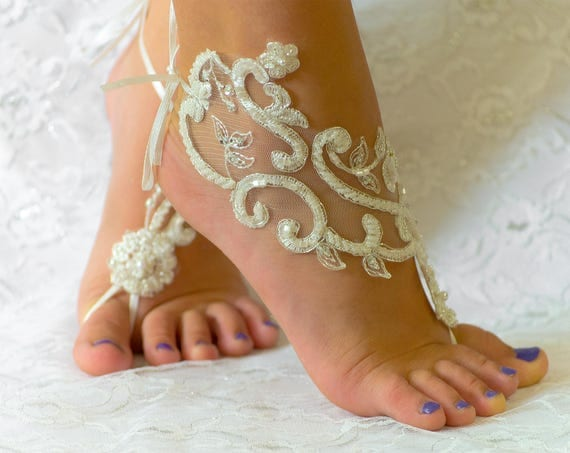 Barefoot Sandals, Barefoot sandles White, Lace barefoot sandals, beach wedding shoes, wedding lace shoes, bridesmade gift, beach shoes