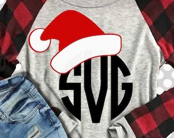 Santa's hat svg, Christmas svg, monogram svg, Santa monogram svg, SVG, DXF, EPS, Christmas cut file, santa hat svg, holiday svg, cutter