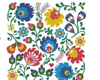 Folk art cross stitch pattern, Polish wycinanki flowers cross stitch pillow, modern flowers,  geometric flowers large cross stitch