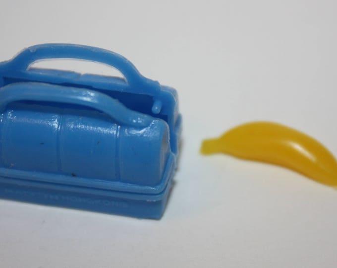 Vintage Blue Doll Lunchbox and Banana for Barbie Skipper Tammy Dolls