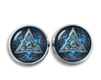 Odins Knot Stud Earrings Valknut Earrings Viking Triangles 12mm Earrings Three triangles