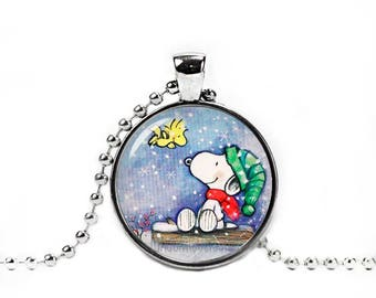 Snoopy Necklace Snoopy Woodstock Christmas Pendant Snoopy Peanuts Fandom Jewelry Cosplay Fangirl Fanboy