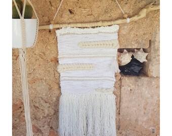 White Bohemian woven wall hanging