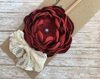 Satin flower headbands, singed flower headbands, maroon headbands, flower headbands, fall headbands, thanksgiving headbands, maroon bows
