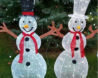 """LED Lighted Christmas 3-D Snowman 48"""" , black hat, indoor or outdoor garden decoration"""