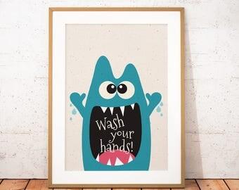 Monster Print, Little Monster Printable Art, Cute Monster Wall Art, Kids Gift, Kids Bathroom Decor, Instant Download