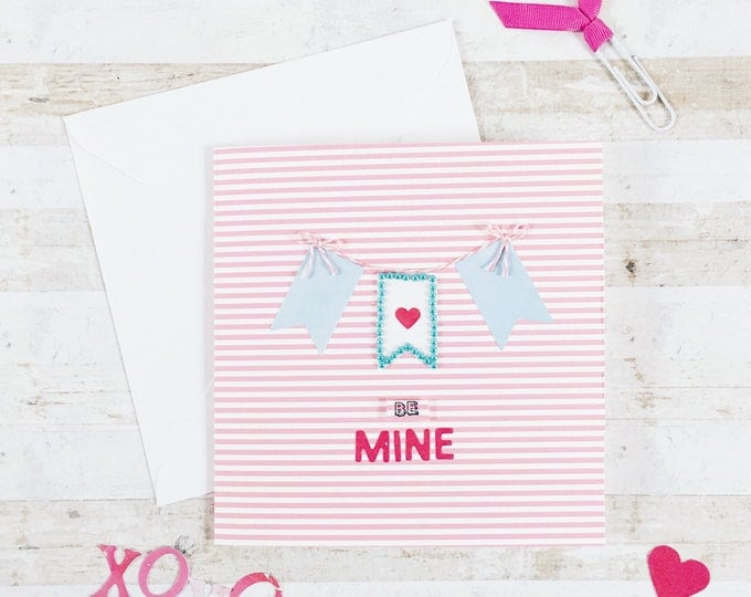be mine valentines, bunting card