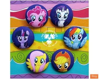 My Little Pony #MLP Button, Badge, Brooch, Ponytail Holder, Elastic Hair Tie, Keyring   Original TM   Pin, Party favor, Goody bag filler