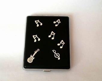 Cigarette case 100 mm, Cigarette case with metal musical notes, Metal musical  notes, Cigarette case metal, Cigarette case hold,Gift for him