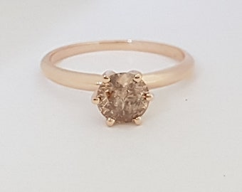 certified 0.80 ct round cut solitaire diamond engagement Ring 14k Rose gold hand made