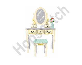 Beauty Vanity - Machine Embroidery Design - 4 X 4 Hoop, Mirror, Bathroom, Bedroom, Furniture, Woman, Makeup, Cosmetics