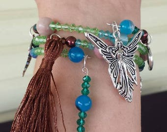 Fairy Charm Bracelet, Memory Wire Bracelet, Fairy Bracelet, Wrap Bracelet, Witchcraft Supplies, Tassel Bracelet, Fairy Jewelry, Moon Jewelry