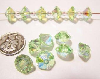 Swarovski 5307 Chrysolite AB 10mm Rare Vintage Crystal Beads (6 pieces)