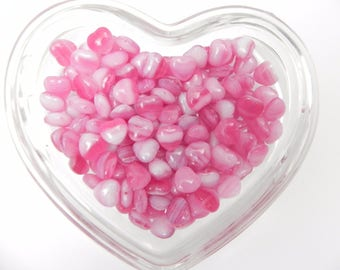 Pink Swirl 8.5mm Heart Shaped Glass Beads