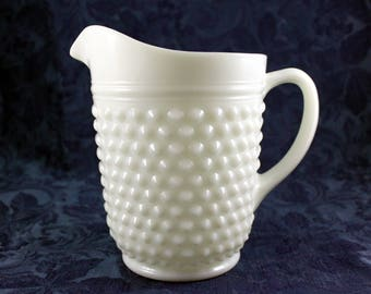 Milk Glass Pitcher, Anchor Hocking Hobnail and Dash Pattern, Vintage from 1960s