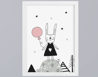 Bunny with balloon art print without frame